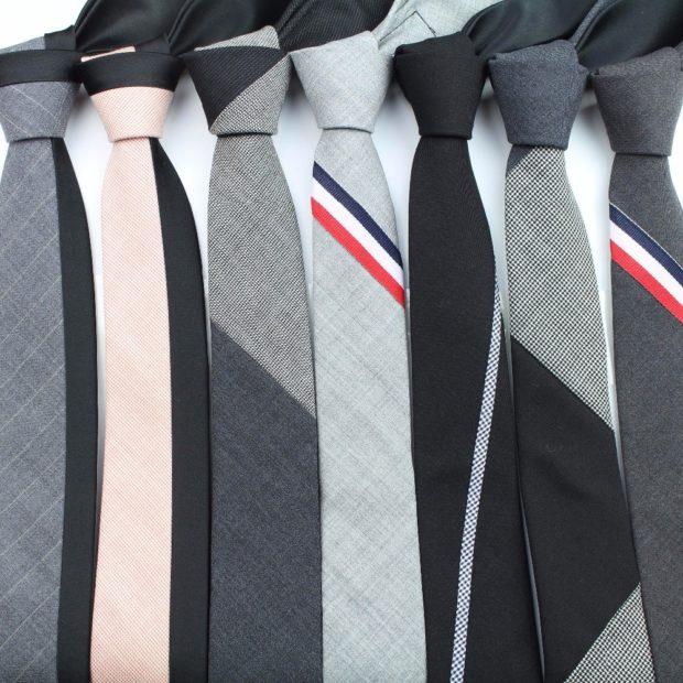 классические галстуки серые черные в полоски