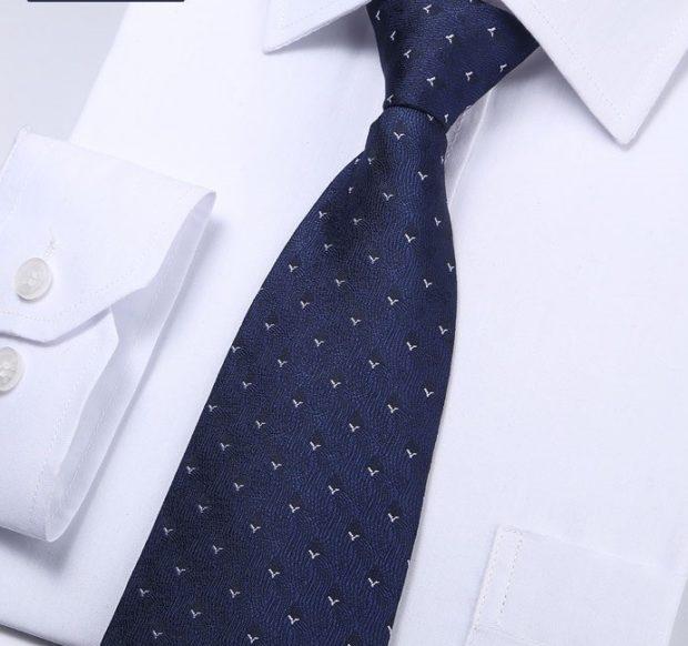 синий классический галстук с птичками