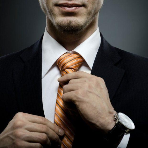 галстук оранжевый с белыми полосками