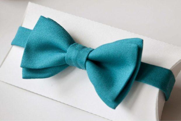 галстук бабочка бирюзовый
