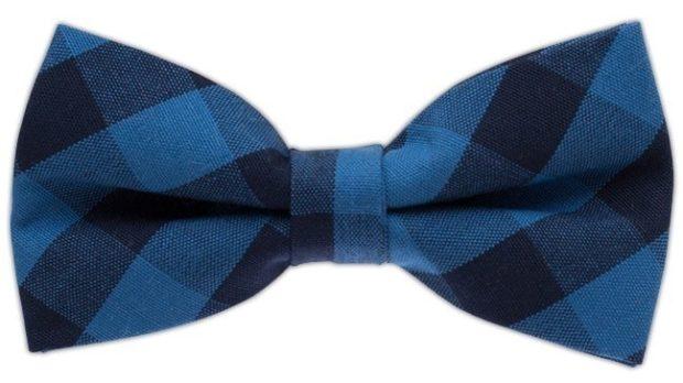 галстук бабочка синий в клетку