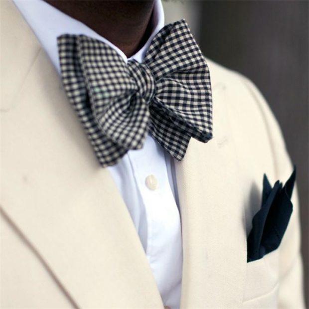 галстук бабочка черно-белая клетка мелкая