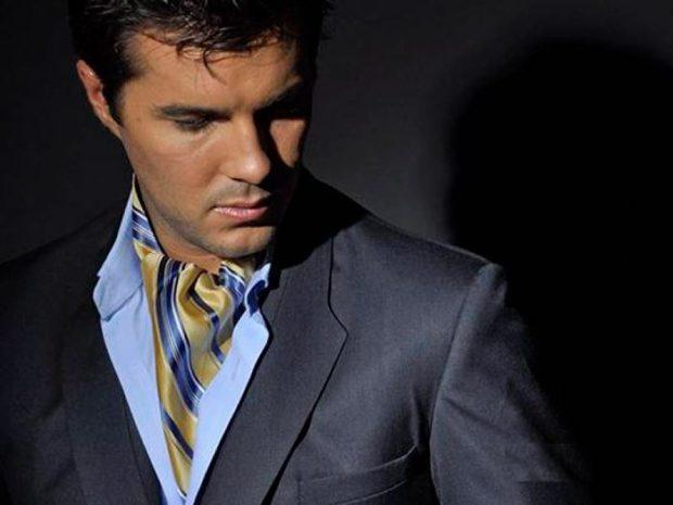 шелковый платок синий с желтым