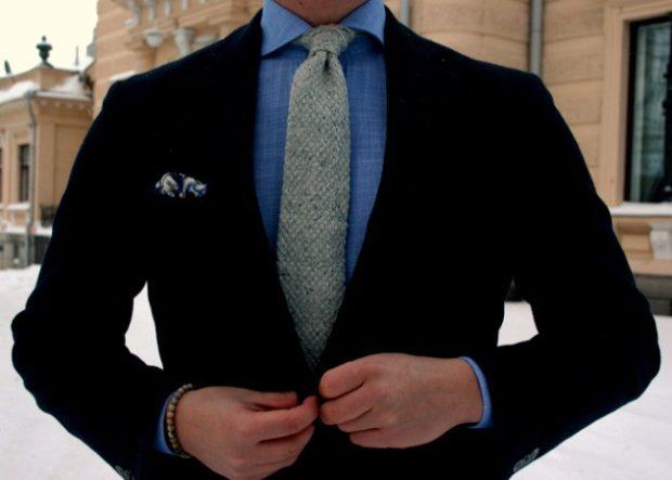 галстук серый мешковина