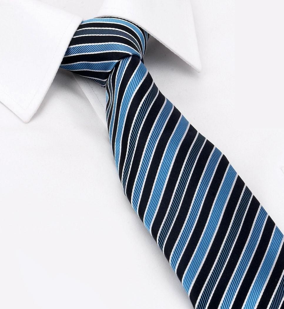 галстук синий с черным полоска
