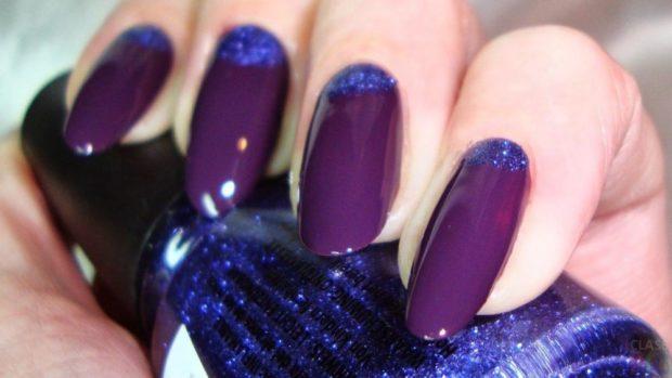 яркий лунный маникюр бордовый с фиолетовым