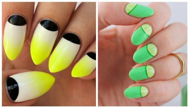 яркий лунный маникюр желтый с черным салатовый с зеленым