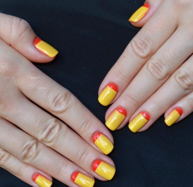 яркий желтый с красным