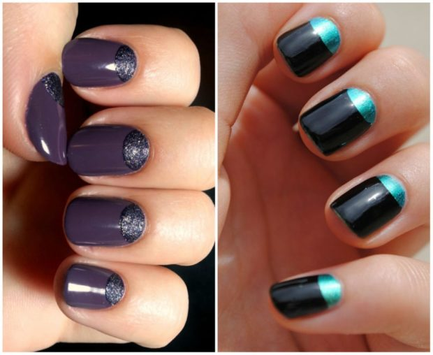 лунный маникюр фиолетовый с песком в тон черный с салатовым