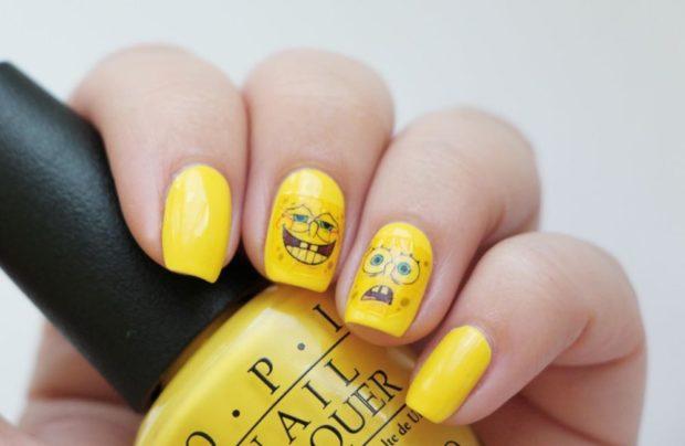 маникюр шеллак желтый наклейки Спанч Боб
