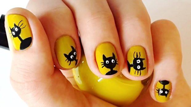 маникюр шеллак модные тенденции фото желтый с черными котятами