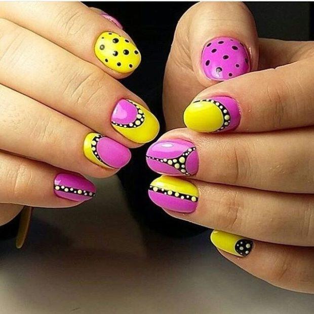 модный маникюр шеллак: яркие ногти фиолетовые с желтым