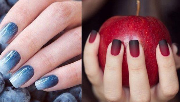 модный маникюр шеллак: лак синий омбре красный с черным