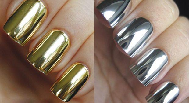 модный маникюр шеллак: лак золотой серебро фольга