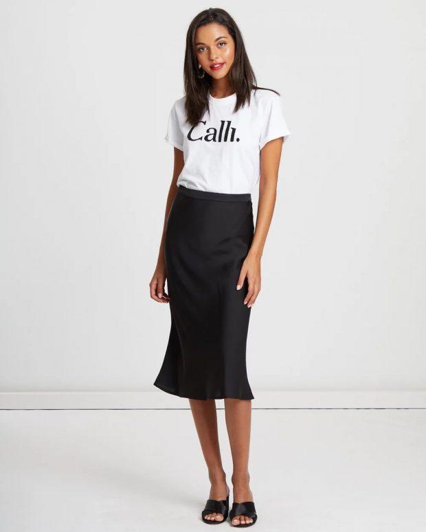 модные юбки 2018 2019: черная миди