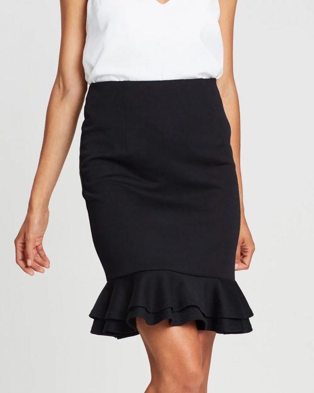 модные юбки 2018 2019: черная