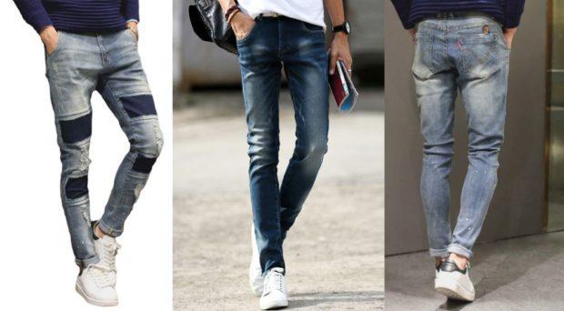 серые джинсы с синими вставками синие потертые джинсы серые потертые