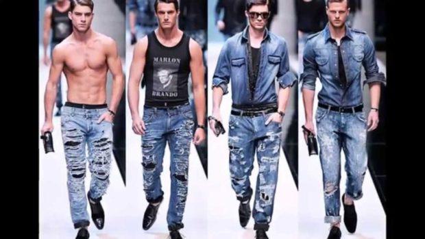 джинсы синие с дырками