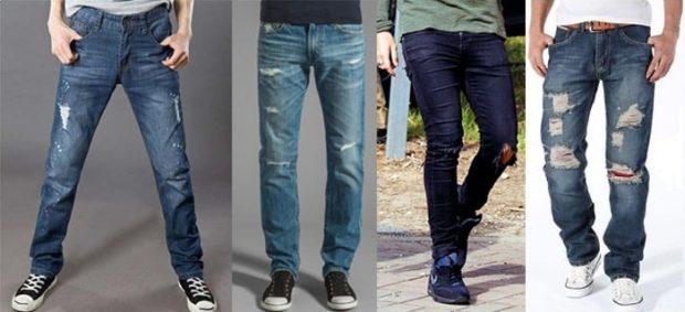 джинсы классика синие голубые темно-синие синие серым с дырками и потертостями
