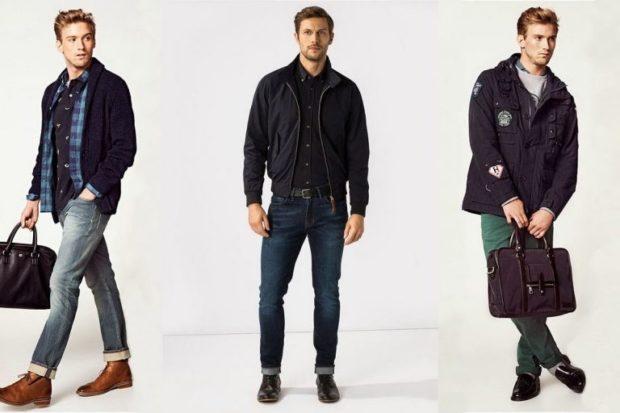 серые джинсы подкатаные синие