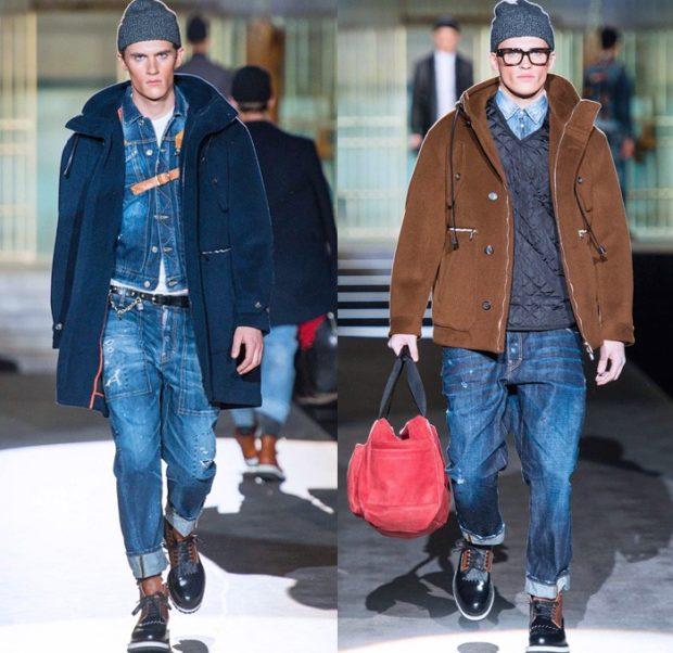 джинсы подкатаные синие классика