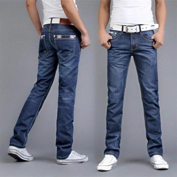 прямые синие джинсы классика