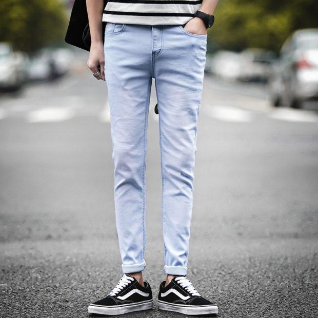 серые джинсы классика с подкатом