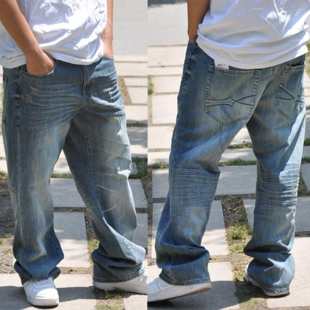 широкие серо-синие штаны