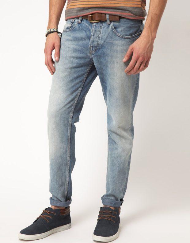 узкие джинсы серо-синие
