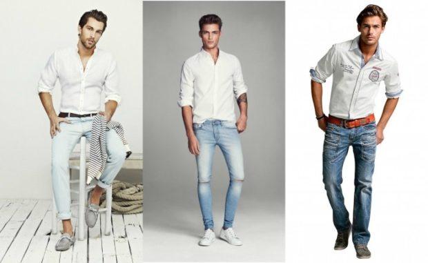 узкие джинсы белые с подкатом синие с дырками синие классика
