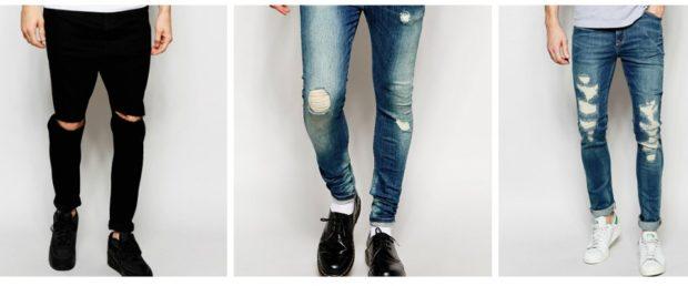 узкие джинсы черные синие синие короткие с дырками и потертостями