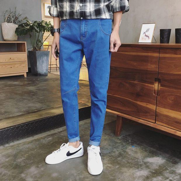 узкие джинсы синие короткие