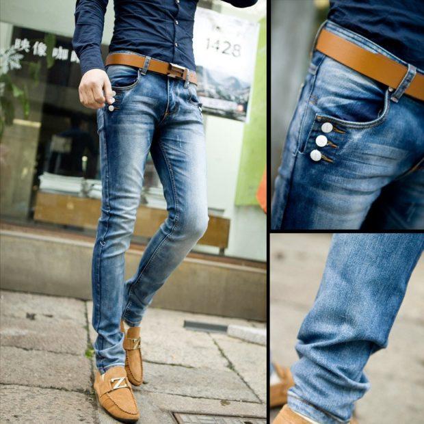 узкие джинсы синие с потертостями