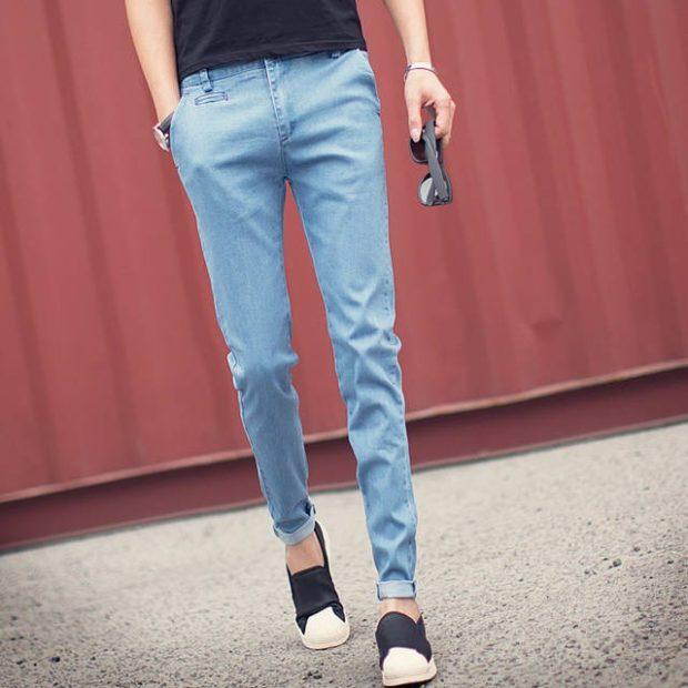 узкие джинсы синие с подкатами