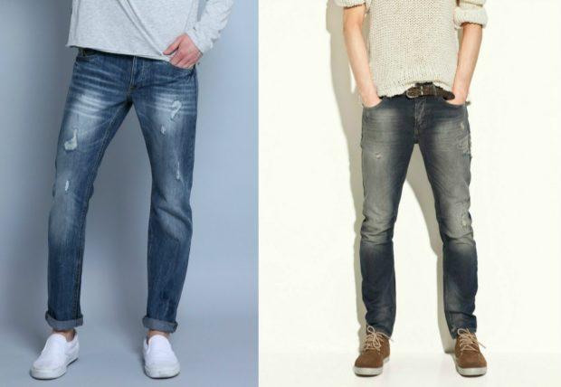 узкие джинсы синие серые с потертостями