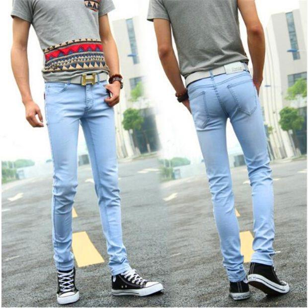 узкие джинсы голубые классика