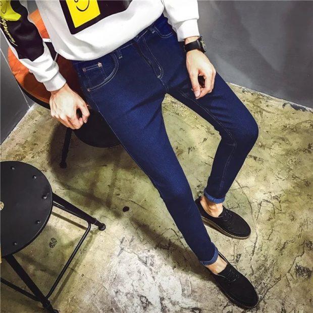 узкие джинсы синие классика