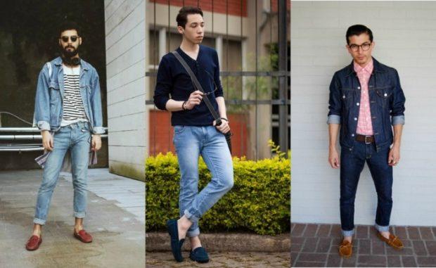 узкие штаны с подворотом светлые потертые синие темные