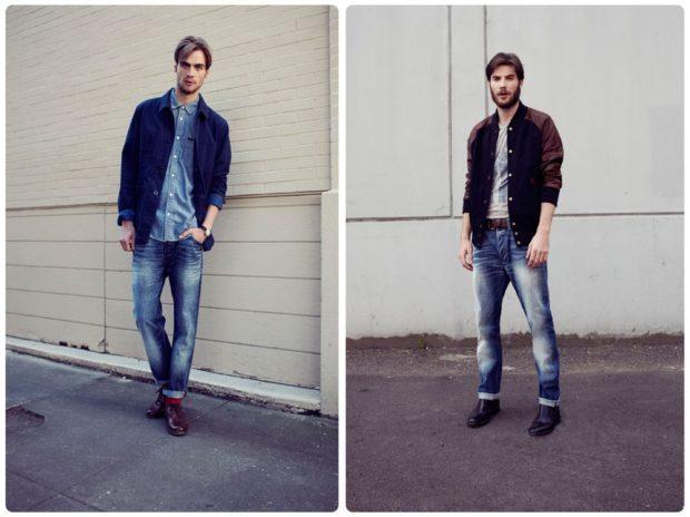 узкие джинсы подкатаные потертые синие