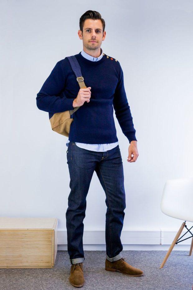 синие джинсы классические