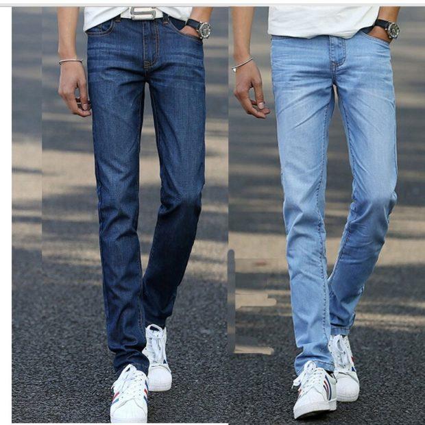 летние классический джинсы синие голубые
