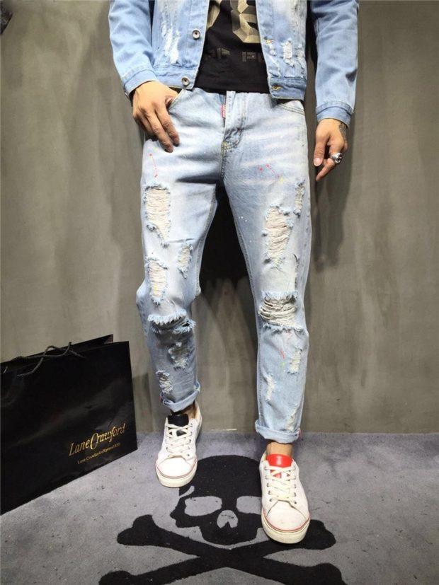 летние джинсы потертые с дырками