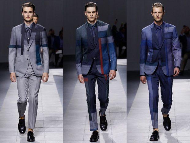 костюмы в полоску и клетку синие с серым