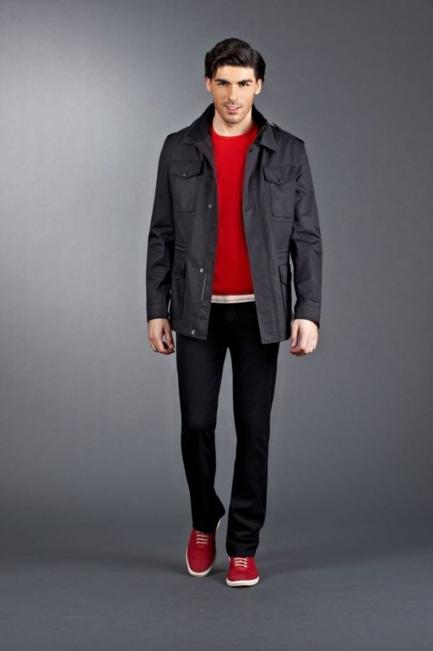 куртка классическая красная кофточка черные штаны