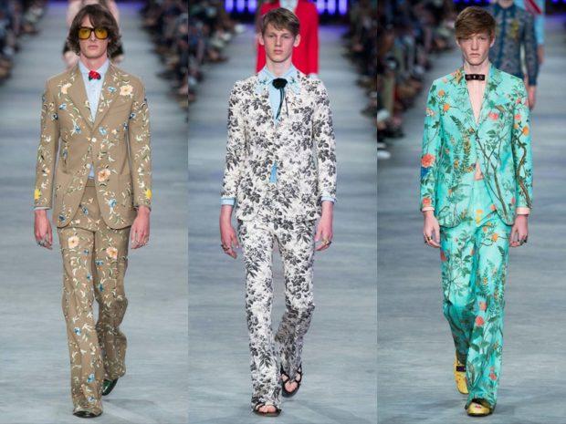 костюмы брючные с пиджаками в цветы