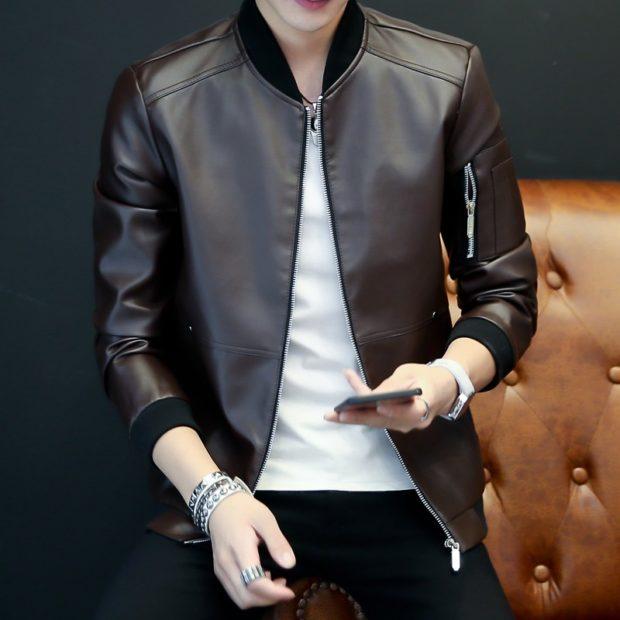 кожаная куртка классика под черные джинсы