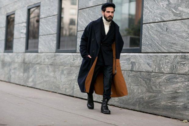 длинное пальто широкое темное под джинсы черные