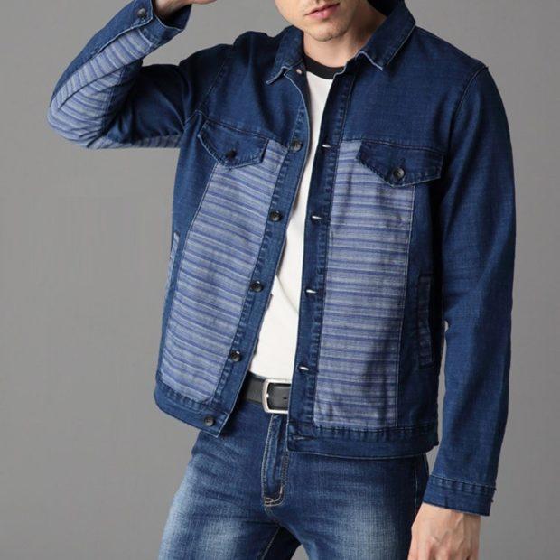 одежда из денима куртка и штаны темно-синяя