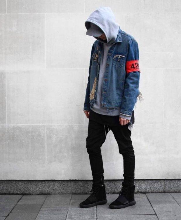 одежда из денима куртка синяя штаны черные