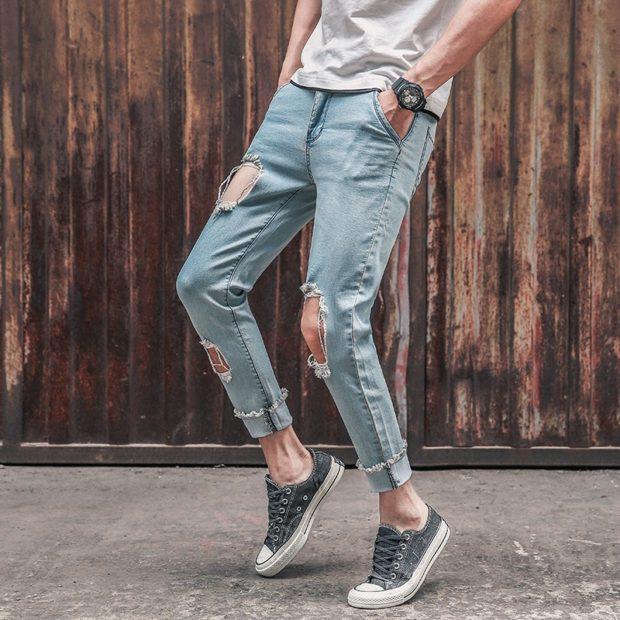 одежда из денима синие штаны в дырки
